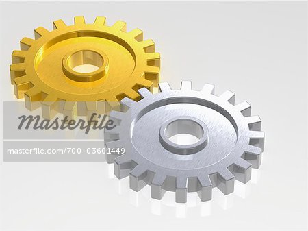 Gold and Silver Gears Stock Photo - Rights-Managed, Image code: 700-03601449
