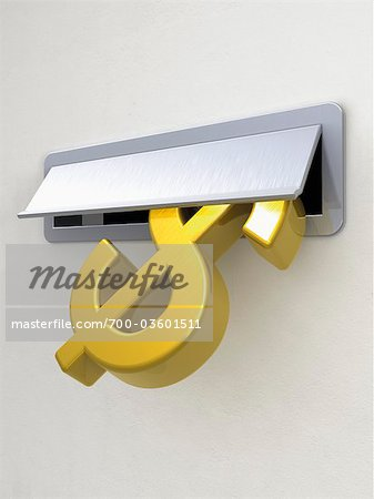Dollar Sign in Mail Slot Stock Photo - Rights-Managed, Image code: 700-03601511