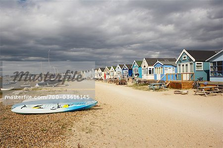 Huts at Hengistbury Head Beach, Near Bournemouth, Dorset, England Stock Photo - Rights-Managed, Image code: 700-03616145