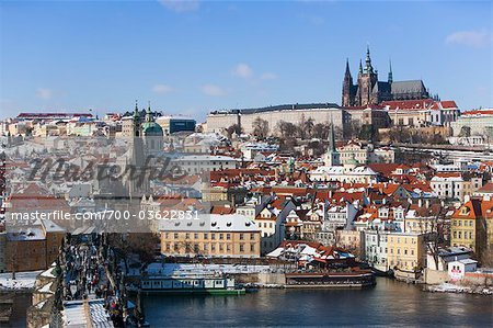 Prague Castle and Saint Vitus Cathedral, View From Charles Brige, Prague, Czech Republic Stock Photo - Rights-Managed, Image code: 700-03622831