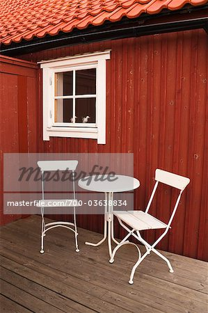 Table and Chairs in front of Hose, Sweden Stock Photo - Rights-Managed, Image code: 700-03638834
