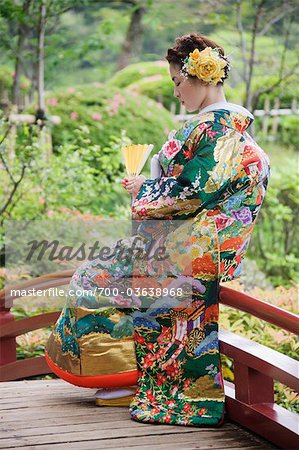 Bride in Japanese Wedding Gown, Hiroshima, Hiroshima Prefecture, Chugoku Region, Honshu, Japan Stock Photo - Rights-Managed, Image code: 700-03638968