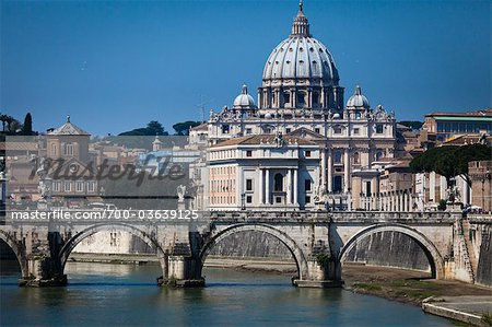 Saint Peter's Basilica and Ponte Sant'Angelo, Rome, Vatican City, Lazio, Italy Stock Photo - Rights-Managed, Image code: 700-03639125