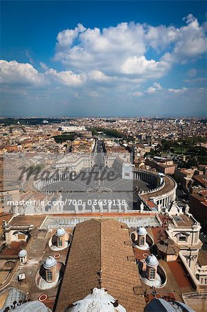 View of Rome from the Dome of Saint Peter's Basilica, Vatican City, Rome, Italy Stock Photo - Rights-Managed, Image code: 700-03639138