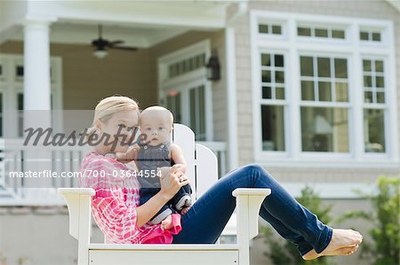 Mother and Son Sitting in Chair on Lawn Stock Photo - Rights-Managed, Image code: 700-03644554