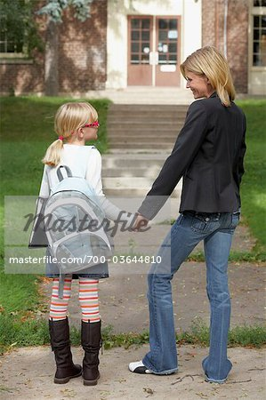 Mother Walking Daughter to School Stock Photo - Rights-Managed, Image code: 700-03644810