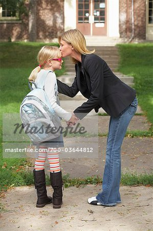 Mother Kissing Daughter Goodbye in Front of School Stock Photo - Rights-Managed, Image code: 700-03644812