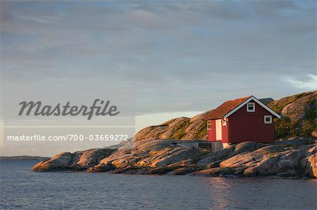 Red Wooden Hut on Rocky Coast, Bohuslaen, Sweden Stock Photo - Rights-Managed, Image code: 700-03659272