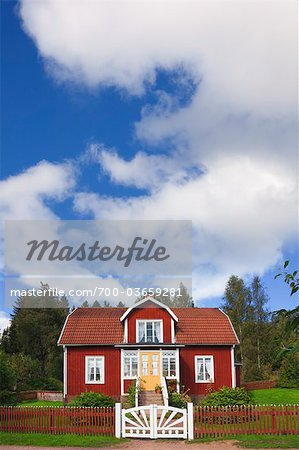 Red Wooden House, Katthult, Gibberyd, Smaland, Sweden Stock Photo - Rights-Managed, Image code: 700-03659281