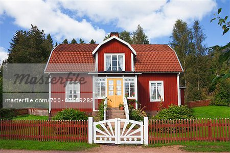 Red Wooden House, Katthult, Gibberyd, Smaland, Sweden Stock Photo - Rights-Managed, Image code: 700-03659282