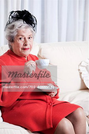 Elderly Woman Drinking Tea Stock Photo - Rights-Managed, Image code: 700-03665591