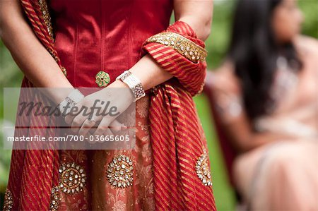Close-Up of Hindu Bride Wearing Traditional Gown Stock Photo - Rights-Managed, Image code: 700-03665605