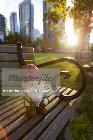 Gnome on Park Bench, Vancouver, British Columbia, Canada Stock Photo - Rights-Managed, Image code: 700-03685842