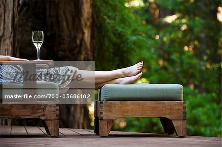 Woman Relaxing on Deck, Santa Cruz County, California, USA Stock Photo - Rights-Managed, Image code: 700-03686102