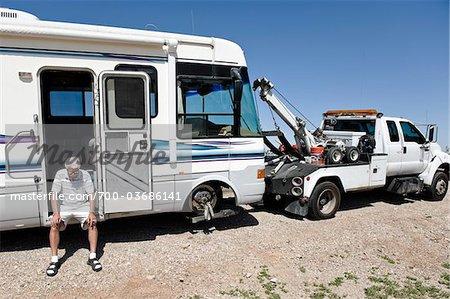 Man with Broken Down RV and Tow Truck in Desert, near Yuma, Arizona, USA Stock Photo - Premium Rights-Managed, Artist: Chris Hendrickson, Code: 700-03686141