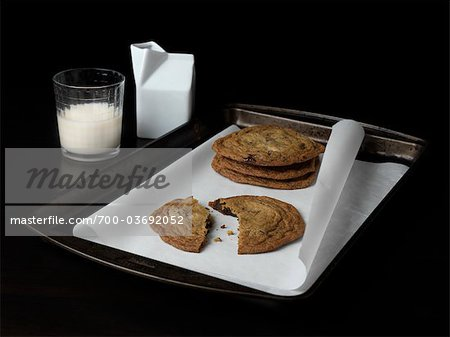 Chocolate Chip Cookies and Milk Stock Photo - Rights-Managed, Image code: 700-03692052