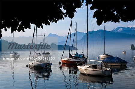 Boats on Lake Lucerne, Lucerne, Switzerland Stock Photo - Rights-Managed, Image code: 700-03696863