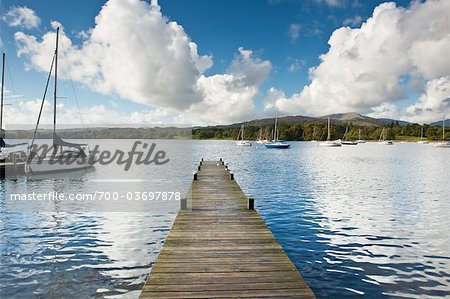 Dock and Sailboats, Lake Windermere, Lake District, North West England, UK Stock Photo - Rights-Managed, Image code: 700-03697878