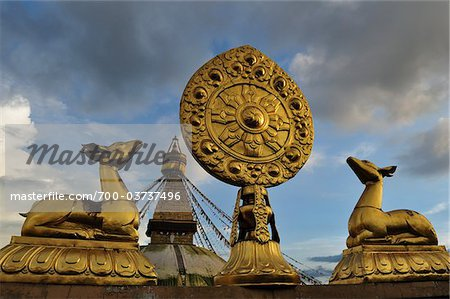 Wheel of Dharma and Stupa in Boudhanath, Bagmati Zone, Madhyamanchal, Nepal Stock Photo - Rights-Managed, Image code: 700-03737496