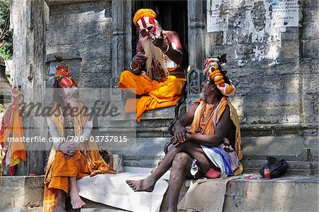 Sadhus, Pashupatinath Temple, Kathmandu, Bagmati, Madhyamanchal, Nepal Stock Photo - Rights-Managed, Image code: 700-03737815