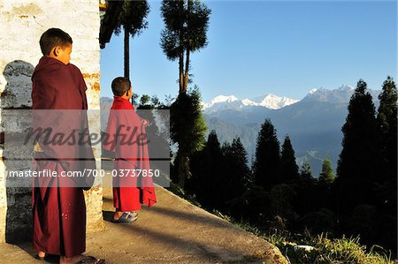 Young Buddhist Monks, Kangchenjunga in the Distance, Sanga Choeling Monastery, Pelling, West Sikkim, Sikkim, India Stock Photo - Rights-Managed, Image code: 700-03737850