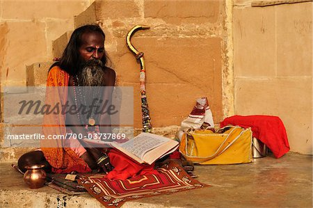 Sadhu, Varanasi, Varanasi District, Uttar Pradesh, India Stock Photo - Rights-Managed, Image code: 700-03737869
