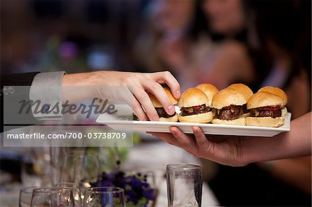 Burger Slider Appetizers Being Served Stock Photo - Rights-Managed, Image code: 700-03738709
