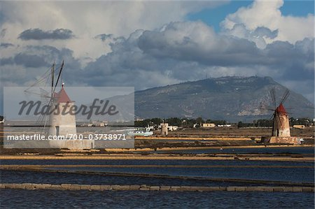 Windmills at Salina Mozia, Sicily, Italy