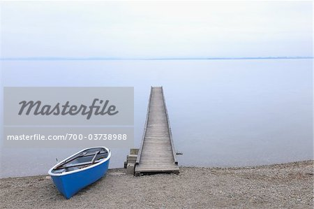 Boat and Dock, Lake Chiemsee, Bavaria, Germany Stock Photo - Rights-Managed, Image code: 700-03738988