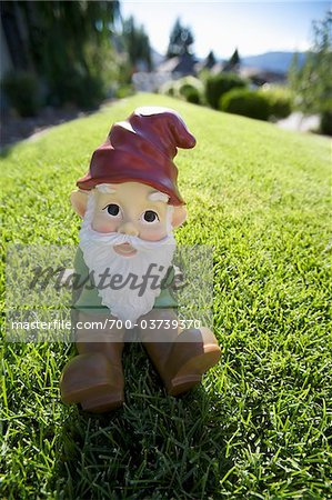 Garden Gnome on Lawn Stock Photo - Rights-Managed, Image code: 700-03739370