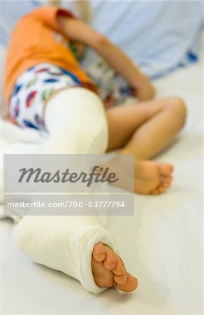 Boy with Cast on Leg in Hospital Stock Photo - Rights-Managed, Image code: 700-03777794