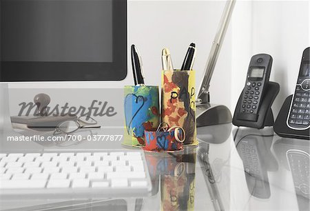 Handmade Desk Organizer on Desk Stock Photo - Rights-Managed, Image code: 700-03777877