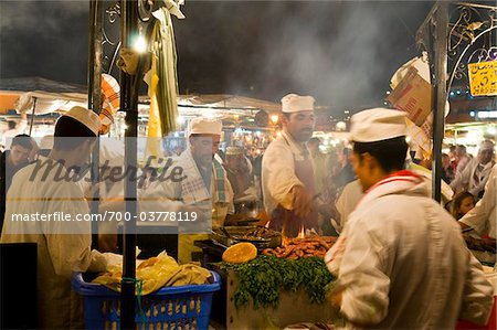 Cooks Selling Food at Djemaa el Fna, Marrakech, Morocco Stock Photo - Rights-Managed, Image code: 700-03778119