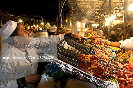 Cook Selling Food at Djemaa el Fna, Marrakech, Morocco