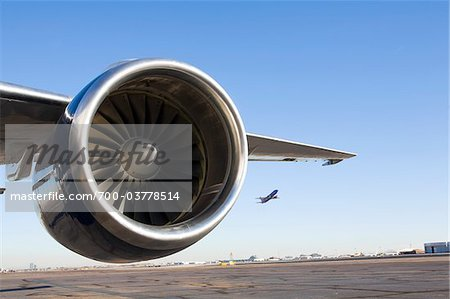 Close-Up of Airplane Engine on Runway Stock Photo - Rights-Managed, Image code: 700-03778514