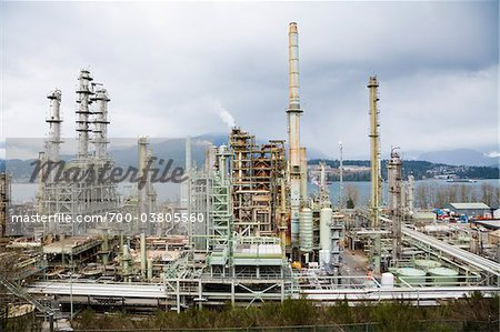 Chevron Oil Refinery on Burrard Inlet, Burnaby, British Columbia, Canada Stock Photo - Rights-Managed, Image code: 700-03805560