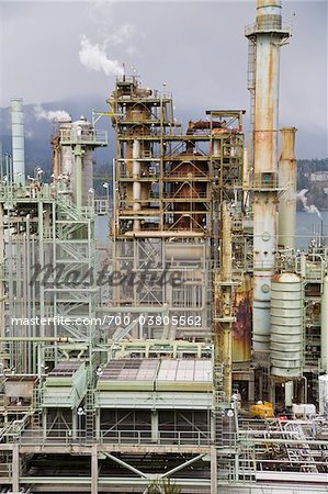 Chevron Oil Refinery on Burrard Inlet, Burnaby, British Columbia, Canada Stock Photo - Rights-Managed, Image code: 700-03805562