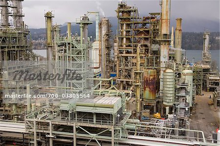 Chevron Oil Refinery on Burrard Inlet, Burnaby, British Columbia, Canada Stock Photo - Rights-Managed, Image code: 700-03805564