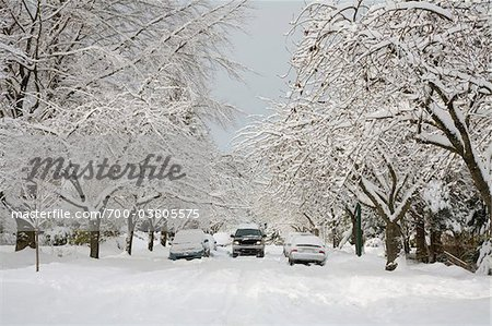 Truck Driving on Snow Covered Street, Dunbar-Southlands Neighbourhood, Vancouver, British Columbia, Canada Stock Photo - Rights-Managed, Image code: 700-03805575