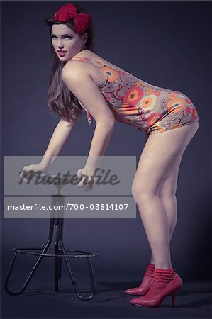 Pin Up Girl Wearing Bathing Suit Stock Photo - Rights-Managed, Image code: 700-03814107