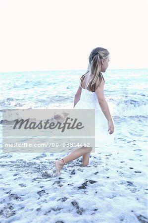 Girl Wearing White Dress on Beach