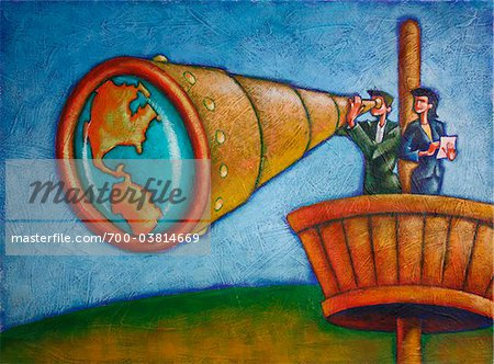 Business People Using Telescope in Crow's Nest Stock Photo - Rights-Managed, Image code: 700-03814669
