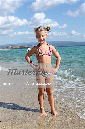 Little Girl Wearing Bikini at Beach
