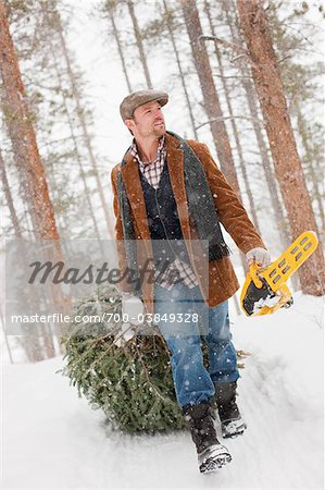 Man with Chainsaw Dragging Christmas Tree Stock Photo - Rights-Managed, Image code: 700-03849328
