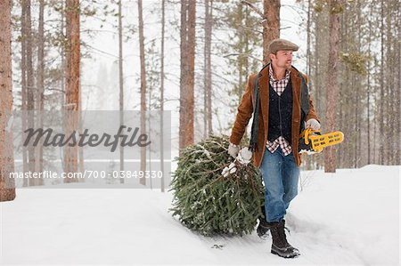 Man with Chainsaw Dragging Tree Stock Photo - Rights-Managed, Image code: 700-03849330