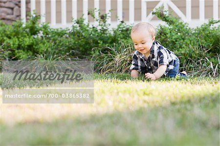 Baby Crawling on Lawn Stock Photo - Rights-Managed, Image code: 700-03865382