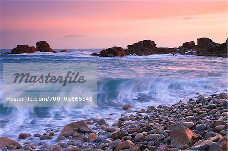 Rocky Coast and Waves at Dawn, Porz Bugale, Cotes-d'Armor, Brittany, France Stock Photo - Rights-Managed, Image code: 700-03865548