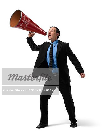 Businessman Yelling into Megaphone Stock Photo - Rights-Managed, Image code: 700-03891177