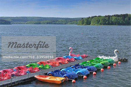 Colorful Pedal Boats, Mohnesee, North Rhine-Westphalia, Germany Stock Photo - Rights-Managed, Image code: 700-03958093