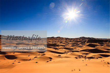 Sun over Desert Sand Dunes, Erg Chebbi, Morocco Stock Photo - Rights-Managed, Image code: 700-03958207